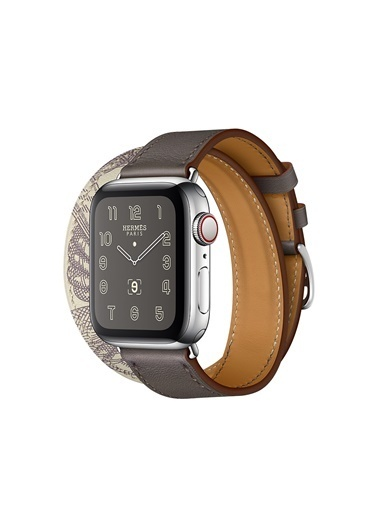 Jacobson Apple Watch Hermès - 42-44 mm Double Tour Étain/Béton Swift Deri Renkli